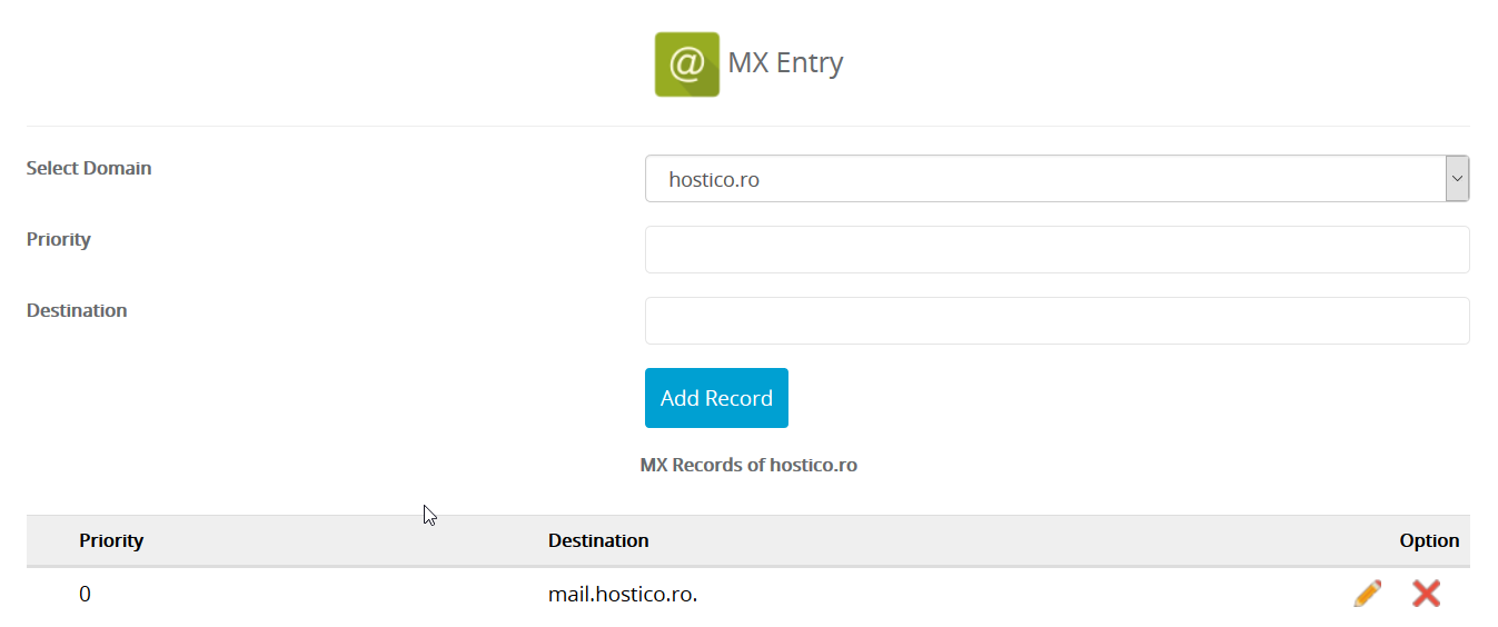 Inregistrarile MX Entry