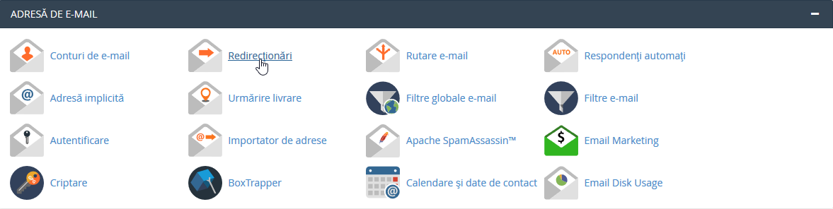 Redirectionare e-mail cPanel