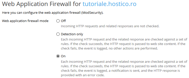 Web Application Firewall Plesk