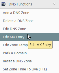 Edit MX Entry în panou WHM