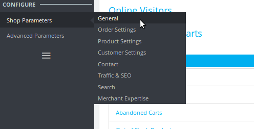 Configure Shop Parameters General