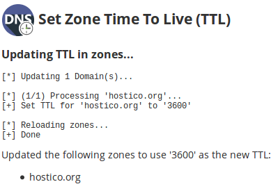Mesaj de confirmare Updating TTL in zones