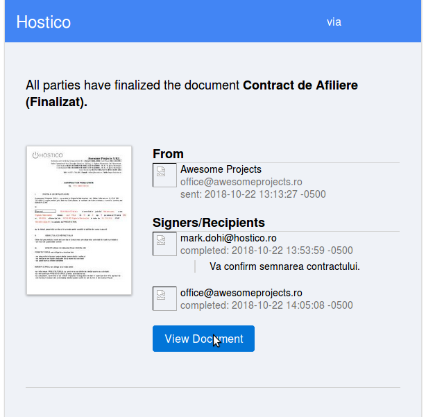 Contract finalizat client Hostico