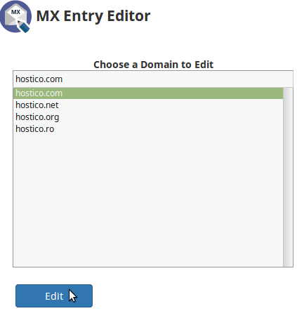Domeniu  MX Entry Editor