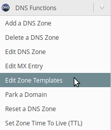 Edit Zone Templates panou WHM