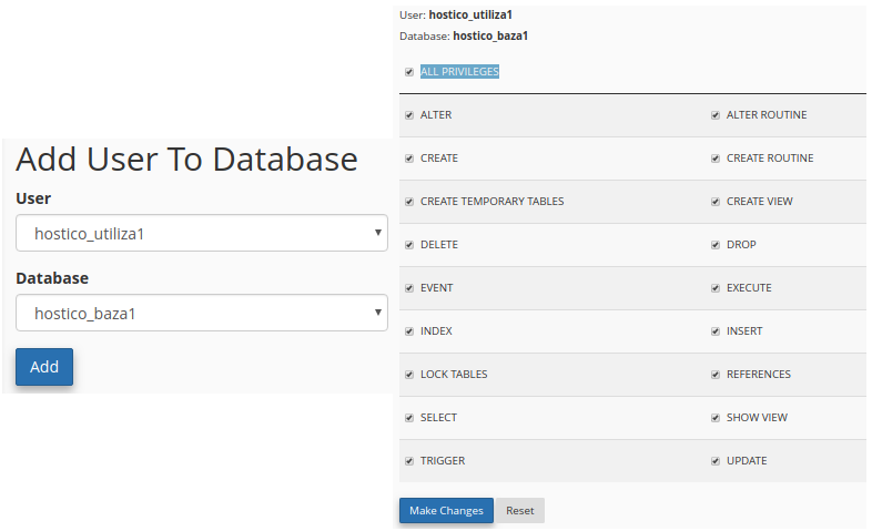 All privileges add user to database