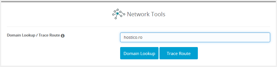 Domain lookup/trace route